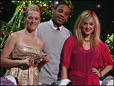 Top of the Pops presenters Edith Bowman, Reggie Yates and Fearne Cotton