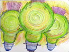 Thistles as light bulbs