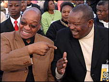 File photo of Jacob Zuma, left, with Mosiuoa Lekota, right, in Soweto, 2005