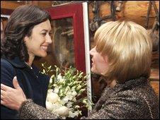 Olga Kurylenko with the wife of the Ukrainian president
