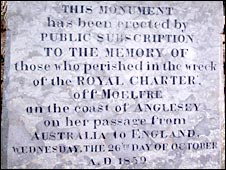 Inscription on the monument to the 1859 Royal Charter disaster