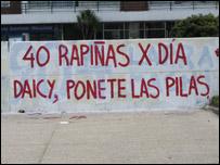 graffiti que pide a la ministra del Interior, Daisy Tourné, que haga algo para bajar el número de delitos.