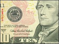 Billete con la imagen de Alexander Hamilton
