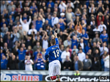 Kenny Miller salutes Rangers fans at Ibrox