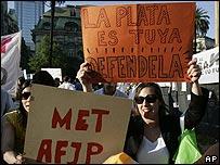 Empleados de las AFJP protestando frente a la Casa Rosada el 23 de octubre