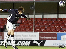 McCann scores the decisive goal at the Falkirk Stadium