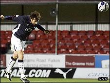 McCann scores the decisive goal at the Falkirk Stadium