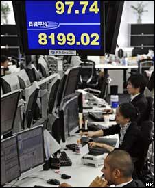 Trading room in Tokyo, 29 October 2008