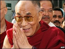 The exiled spiritual leader of Tibet, the Dalai Lama, leaves hospital in Delhi on 16 October