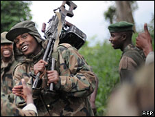 Laurent Nkunda's fighters near Bunagana in eastern DR Congo
