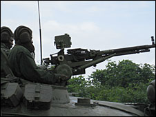 A Congolese army tank