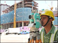 A Filipino construction site surveyor in Singapore