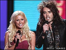 Paris Hilton and Russell Brand