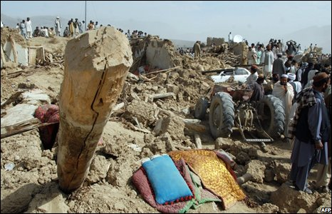 Debris of collapsed houses in the Ziarat, 30 miles north of Quetta, Pakistan (29 October 2008)