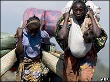 Fleeing people in eastern DR Congo