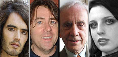 Russell Brand,  Jonathan Ross, Andrew Sachs y Georgina Baillie