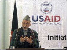 Hamid Karzai at the conference