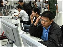 Personal chino trabaja en la base aérea militar de El Sombrero en Venezuela.