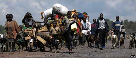 Congolese fleeing into Goma