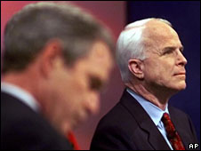 Senator McCain with George W Bush at a debate in December 1999