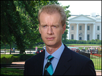 Stephen Sackur in front of the White House