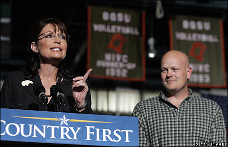 Sarah Palin speaks at a rally in Ohio, flanked by Joe Wurzelbacher, aka Joe the plumber.