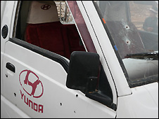 Bullet holes in truck at site of raid - 29/10/2008