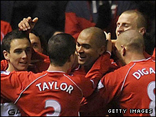 Middlesbrough celebrate after Alves scores their opener