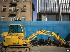 File photograph of Chinese construction workers in Beijing