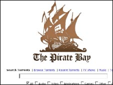 Screengrab from The Pirate Bay,
