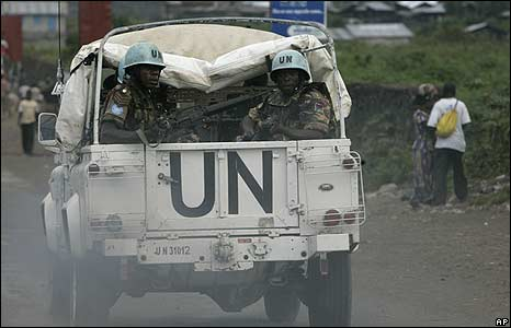 United Nations soldiers on patrol in Goma in eastern DR Congo