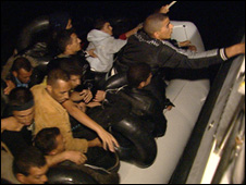 Immigrants in dinghy