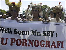 A protest against the anti-pornography bill in Denpassar, Bali - 23/09/2008