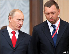 Vladimir Putin and Oleg Deripaska