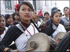 Nepalese drummers at festival