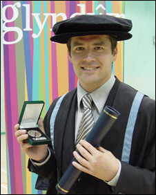Michael Owen after receiving his honorary fellowshiip