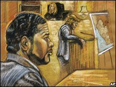 Court illustration of Chuckie Taylor on trial in Miami, file pic from September 2008