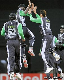 The Stanford Superstars celebrate taking another wicket