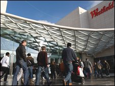 Shoppers on the opening day of Westfield