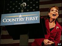 Republican U S vice presidential candidate, Alaska Gov, Sarah Palin