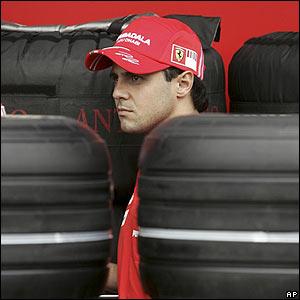 Brazil's Felipe Massa in the Ferrari pit