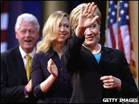 Hillary Clinton pictured with her husband and daughter