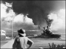 Ships burn in attack on Pearl Harbor