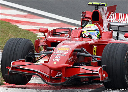 Massa takes a corner in the Ferrari