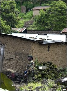 A rebel fighter in Kibumba, north of Goma, on 31 October 2008