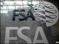 FSA logo at their offices in Canary Wharf, London