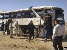 The remains of the bus on a road near Abu Simbel, southern Egypt