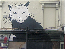 Banksy's rat on the side of the Whitehouse pub in Liverpool