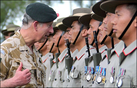 Prince Charles meeting Gurkhas in Brunei
