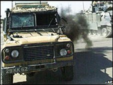Land Rover after an attack in Iraq in 2004